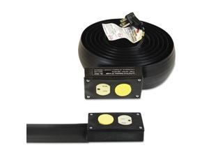 C-LINE PRODUCTS, INC Lay-Flat Power Extension And Cord Cover, 13 Amps, 125 V, 10ft, Black (79101)