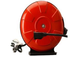 Woods 48004 14/3 SJTW Metal Extension Cord Reel with Locking Plug, Red, 30-Feet