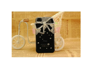 3D Bling Crystals Rhinestones Bow Case Cover for Apple iPhone 4 4S Black