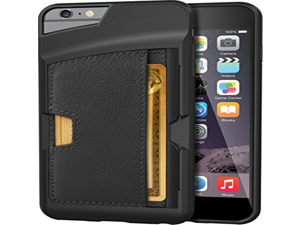 "iPhone 6 Plus/6s Plus Wallet Case - Q Card Case for iPhone 6+/6s+ (5.5"") by CM4 - Ultra Slim Protective *Kickstand* Credit Card Phone Cover (Black Onyx)"