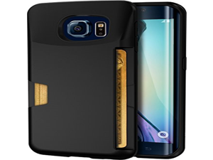Galaxy S6 Edge Wallet Case - Vault Slim Wallet by Silk - Ultra Slim Protective Credit Card ID Cover (Black Onyx)