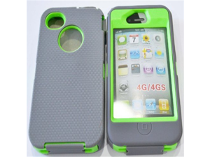 Generic Hybrid Body Armor Hard Protective Case Cover for iPhone 4/4s - Non-Retail Packaging - Gray/Green