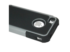 ASleek Silver / Black Hard Soft High Impact Body Armor Case Cover for Apple iPhone 4 / 4S (OEI8)