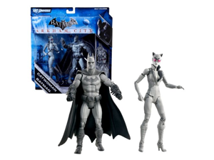 Mattel Year 2011 DC Universe Batman Arkham City Series Legacy Edition 2 Pack 7 Inch Tall Action Figure Set - CATWOMAN with Whip and BATMAN