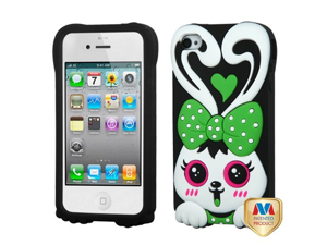 MyBat Rabbit Pastel Skin Cover with Package for Apple iPhone 4S/4 - Retail Packaging - Green