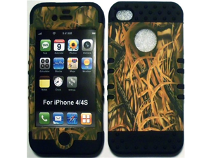 Camo Grass on Black Silicone Skin for Apple iPhone 4 4S Hybrid 2 in 1 Rubber Cover Hard Case fits Sprint, Verizon, AT&T Wireless