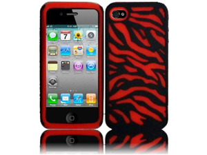 Red/Black Zebra PC Silicone Hybrid Case Cover for Apple Iphone 4G 4 4S 4GS