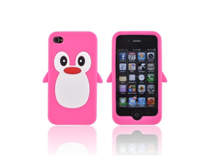 For Apple iPhone 4S 4 Hot Pink Penguin Rubbery Feel Anti-Slip Silicone Skin Case Cover