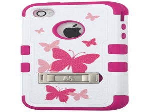 MYBAT Hybrid Dual Layer Protector Cover with Kickstand for Apple iPhone 4/4S - Retail Packaging - Butterfly Dancing/Hot Pink