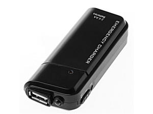 TOMTOP USB Emergency Battery Charger Flashlight for Cellphone iPhone iPod (Black)