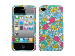 DC APPLE IPHONE 4 4G GREEN AND COLORFUL FLOWER ROSE GARDEN DESIGN HARD CASE COVER