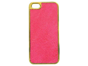 Tribeca YJ009-CLH07 Gold Trim Leather Hardshell Case for iPhone 5 - 1 Pack - Retail Packaging - Pink Lizard