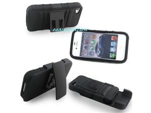 Generic Apple iPhone 4/iPhone 4S Shell Holster Combo Belt Clip Case - Retail Packaging - Black