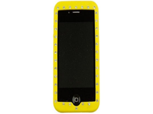 Flexible Silicone Diamond Phone Cover Case Yellow For Apple iPhone 4