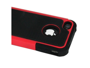 ASleek Red/Black Hard Soft High Impact Armor Case Cover for Apple iPhone 4 / 4S (Red 2)