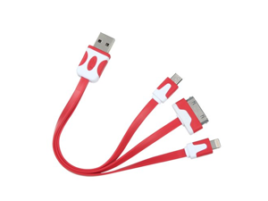 MYBAT 30PIN,8PIN,Micro 3-in-1 Red Noodle Charging Cable for APPLE The new iPad APPLE iPhone 4S/4 APPLE iPad 2 APPLE iPod touch (4th generation) APPLE iPad APPLE iPhone 3GS/3G APPLE iPod nano (5th gene