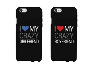 I Love My Crazy Boyfriend and Girlfriend Couples Matching Cell Phone Cases for iphone 4, iphone 5, iphone 5C, iphone 6, iphone 6 plus, Galaxy S3, Galaxy S4, Galaxy S5 in Black