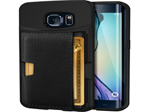 Galaxy S6 edge Wallet Case - Q Card Case for Samsung Galaxy S6 edge by CM4 - Ultra Slim Protective *Kickstand* Credit Card Carrying Case (Black Onyx)