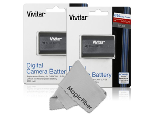(2 Pack) Vivitar LP-E6 LP-E6N Ultra High Capacity 2000mAH Li-ion Batteries for CANON 5D Mark II, 5D Mark III, EOS 6D, 60D, 7D, 7D Mark II, 70D (Canon LP-E6 Replacement)