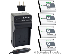 Kastar Battery (4-Pack) and Charger Kit for Sony NP-BK1, BC-CSK work with Sony Bloggie MHS-CM5, MHS-PM5, Cyber-shot DSC-S750, DSC-S780, DSC-S950, DSC-S980, DSC-W180, DSC-W190, DSC-W370, Webbie MHS-PM1