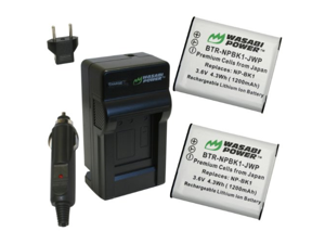 Wasabi Power Battery (2-Pack) and Charger for Sony NP-BK1 and Sony Bloggie MHS-CM5, MHS-PM5, Cyber-shot DSC-S750, DSC-S780, DSC-S950, DSC-S980, DSC-W180, DSC-W190, DSC-W370, Webbie MHS-PM1