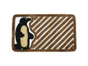 """Penguin Outdoor Scraper Door Mat - 18"""" x 30"""" Coir Boot Brush Scraper"""