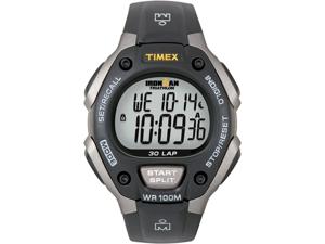 Timex Men's T5E901 Black Resin Quartz Watch with Grey Dial
