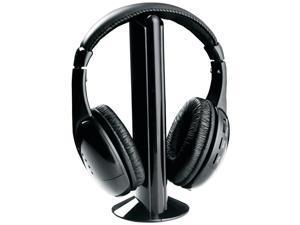 Wireless 5-in-1 RF Hi Fi Monitoring Headphones w/Microphone & FM Radio Tuner