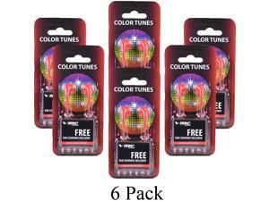 6 Pack Vibe Color Tunes VS-120 Light In-Ear Stereo Headphones w/Earbuds-Red