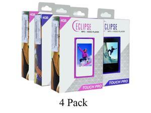 4-Pack Eclipse Touch Pro 4GB MP3 USB 2.0 Digital Music/Video Player w/FM Radio