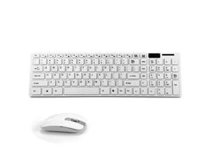Wireless Keyboard & Laser Mouse with 101 Keys Layout and USB Receiver - White
