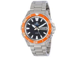 Casio EFM-100D-1A4V Edifice Stainless Steel Strap w/Orange Bezel Analog Watch