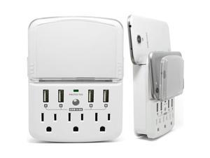 RND Wall Power Station includes 3 AC Plugs and 4 USB ports (4.8A total) with Surge Protection and a slide-out holder and shelf for iPhone  Galaxy (S  Note)  LG  HTC One  Moto X  Nexus (White)