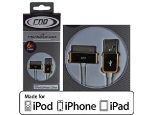 RND Apple CERTIFIED 30-Pin Cable for iPad  iPhone  iPod (6 feet/Gold and white cable)