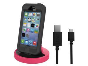 RND Apple Certified Lightning to USB dock for the iPhone (6 / 6 Plus / 6S/ 6S Plus/ 5 / 5S / 5C) or iPod Touch Data Sync and Charge 8-Pin Dock. Compatible with some phone cases. (Black and Pink)