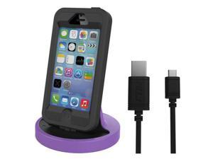 RND Apple Certified Lightning to USB dock for the iPhone (6 / 6 Plus / 6S/ 6S Plus/ 5 / 5S / 5C) or iPod Touch Data Sync and Charge 8-Pin Dock. Compatible with some phone cases. (Black and Purple)