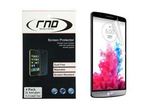 RND 4 Screen Protectors for LG G3 (Anti-Fingerprint/TwoAnti-Glare Matte Finish and Two Crystal Clear Gloss Finish.) with lint cleaning cloths