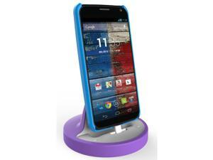 RND Dock for Moto X Moto G and Motorola Droid Turbo 1/ Droid Turbo 2 (works with rugged dual layer slim cases and no cases) (white and purple)