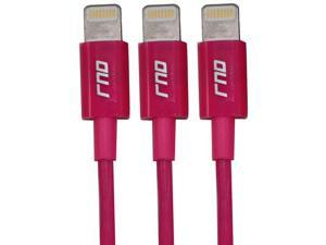 RND 3x Apple Certified Lightning Reversible USB 3.3FT Cable for iPhone (6/6 Plus/6S/6S Plus/5/5S/5C/SE) iPad (Pro/Air/Mini) iPod Siri Remote Data Sync and Charge 8-Pin (3.3FT/pink) (bundle of three)
