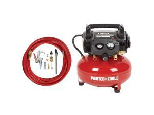 C2002-WKR 0.8 HP 6 Gallon Oil-Free Pancake Air Compressor with 13 Piece Hose and Accessory Kit