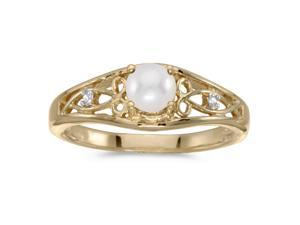 14k Yellow Gold Pearl And Diamond Ring (Size 6)