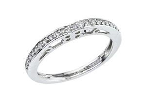 14K White Gold Filigree Diamond QPID Wedding Band