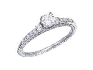 14K White Gold Channel-Set Diamond QPID Engagement Ring (0.47 ctw)