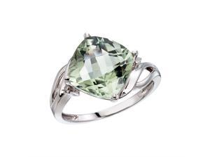 14K White Gold Green Amethyst and Diamond Cushion Ring (Size 7.5)