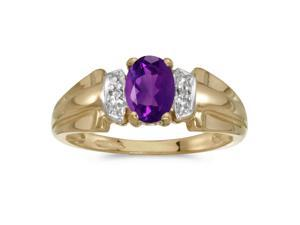 14k Yellow Gold Oval Amethyst And Diamond Ring (Size 6)