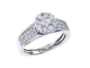 14K White Gold Classic Diamond QPID Engagement Ring (0.78 tcw)