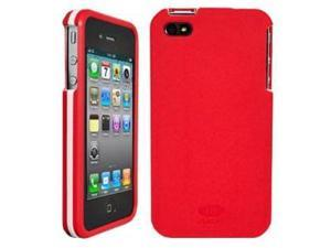AGF iPhone 4 4S Beetle Protective Slip on Case Shell Cover Red with White Racing Stripe
