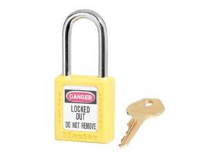 MASTER LOCK 410YLW Lockout Padlock, KD, Yellow, 1/4 In. Dia.