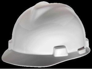 MSA White V-Gard Class E, G Type I Polyethylene Standard Slotted Hard Cap