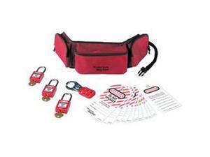 PORTABLE LOCKOUT POUCH WITH THREE 410RED KEYED ALIKE PADLOCKS 1 EA
